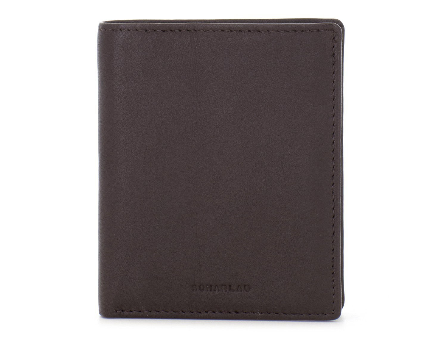 small leather wallet for men brown front