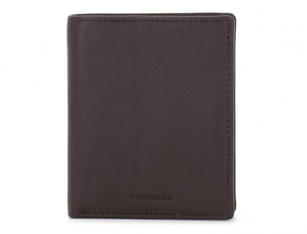 billetero de cuero porta tarjetas marrón frontal