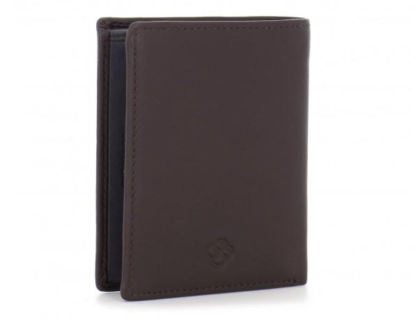 billetero de cuero porta tarjetas marrón lado