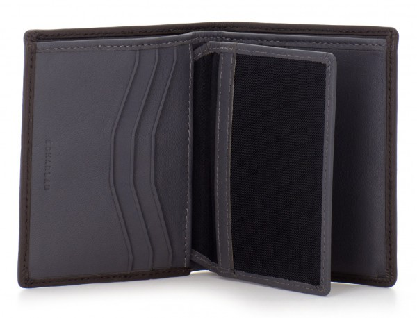 billetero de cuero porta tarjetas marrón open