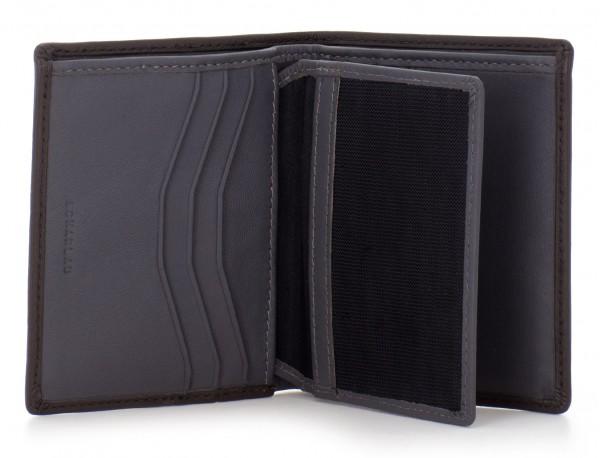 Portafoglio piccolo porta carte marrone open