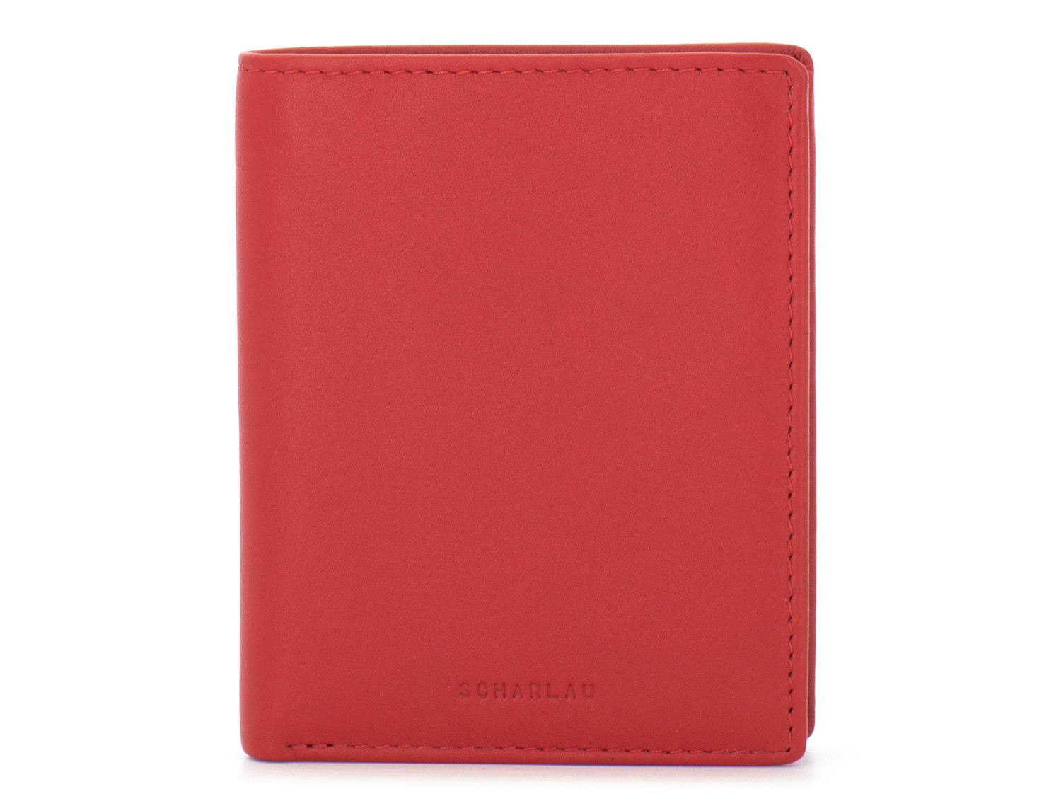 small leather wallet for men red front