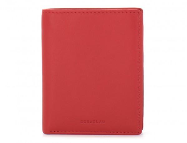 billetero de cuero porta tarjetas rojo frontal