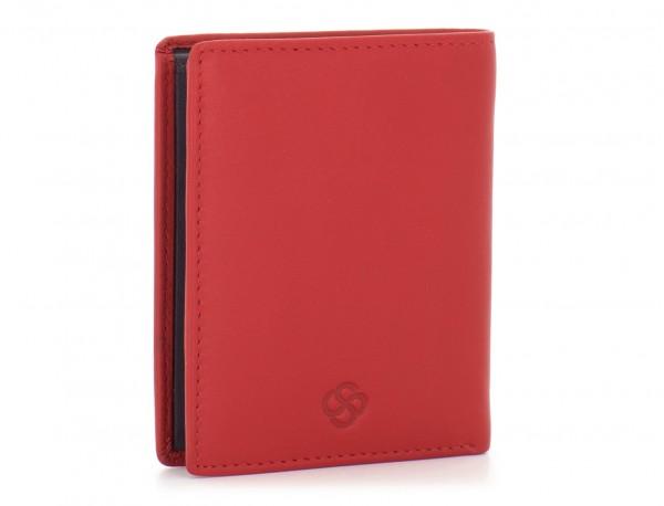billetero de cuero porta tarjetas rojo  lado