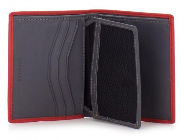 billetero de cuero porta tarjetas rojo  interior