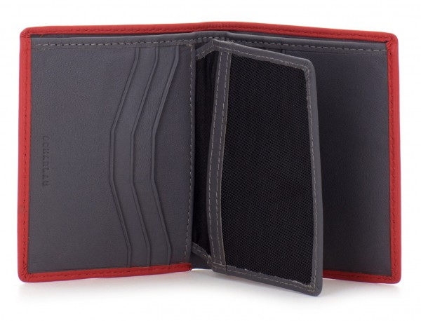 small leather wallet for men red  open