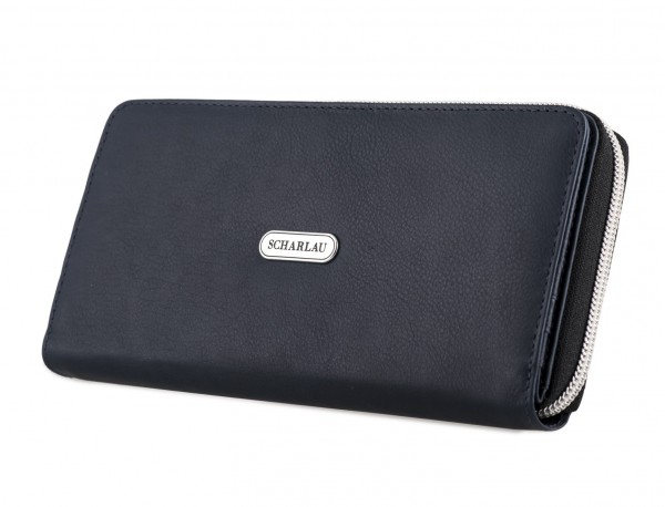 Leather women's wallet with coin pocket in blue side