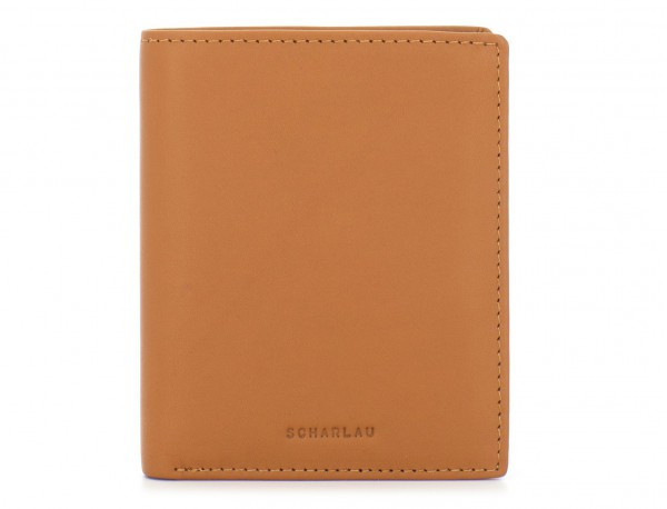 small leather wallet for men camel front