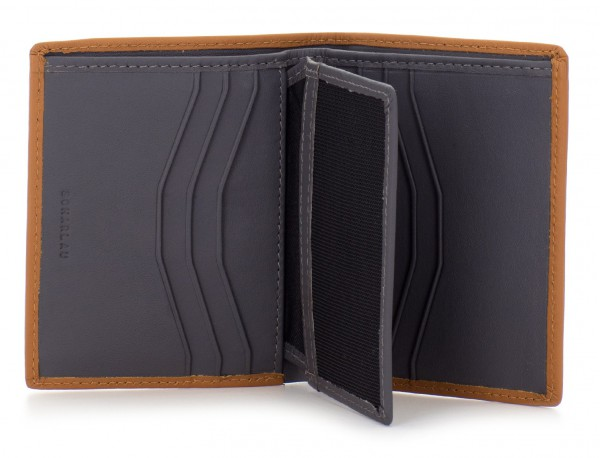 small leather wallet for men camel  open