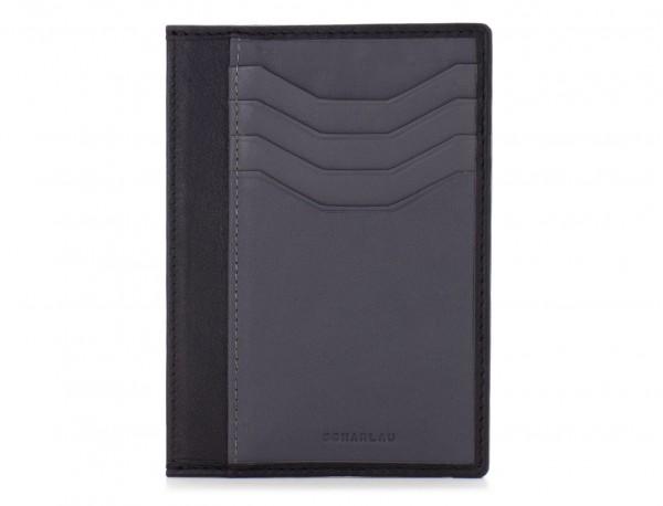 Porta carte di credito in pelle nero front