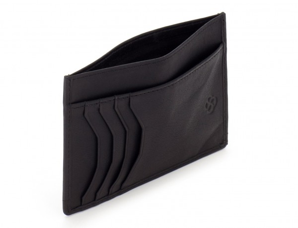 leather credit card wallet back open