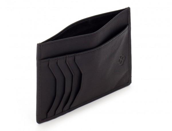 Porta carte di credito in pelle nero open