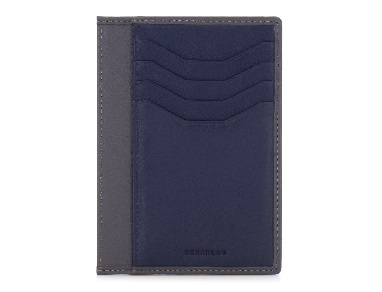 leather credit card wallet blue front