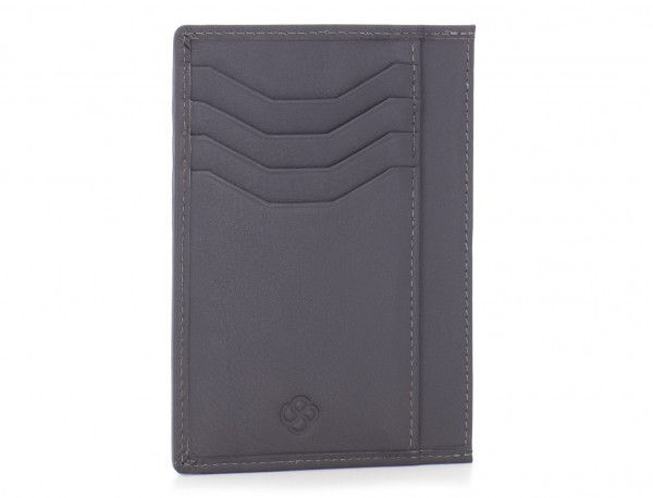 leather credit card wallet gray front