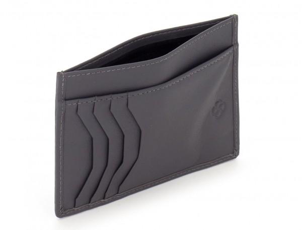 Porta carte di credito in pelle grigio open
