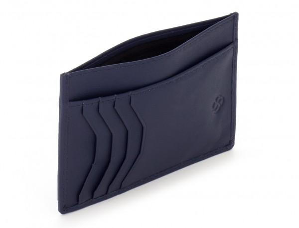 Porta carte di credito in pelle blu open