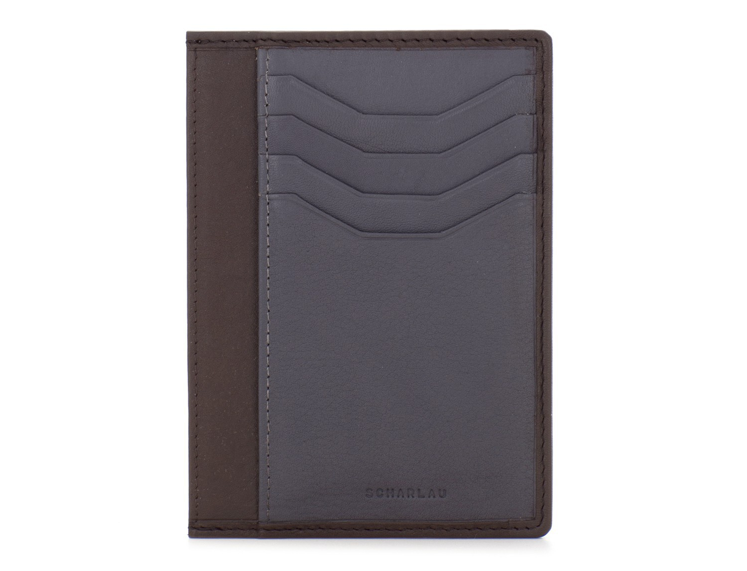 leather credit card wallet brown front