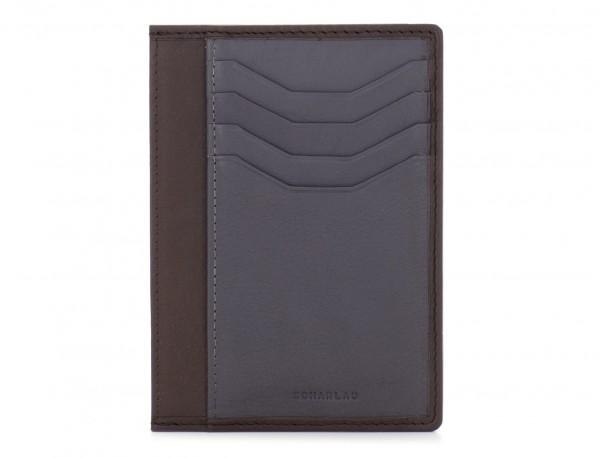 Porta carte di credito in pelle marrone front