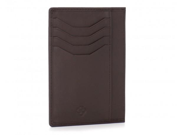 Porta carte di credito in pelle marrone back