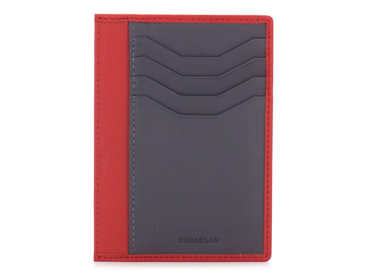 leather credit card wallet red front