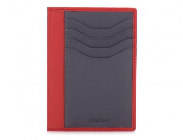 Porta carte di credito in pelle rosso front
