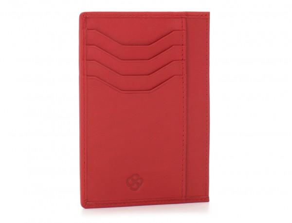 Porta carte di credito in pelle rosso back