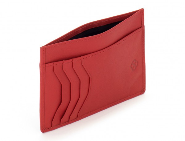 Porta carte di credito in pelle rosso open