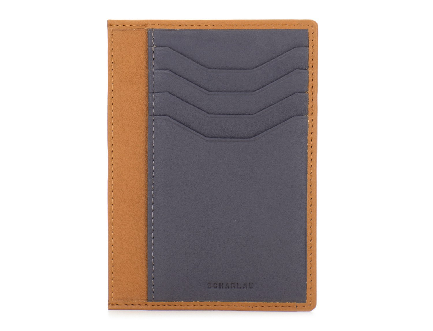 leather credit card wallet camel front