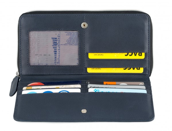 Leather women's wallet with coin pocket in blue open