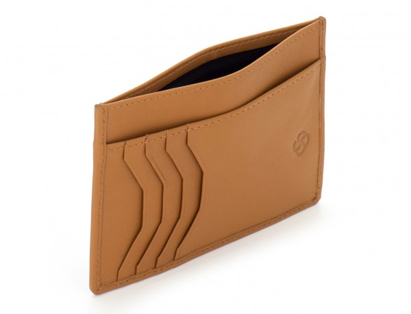 leather credit card wallet camel open