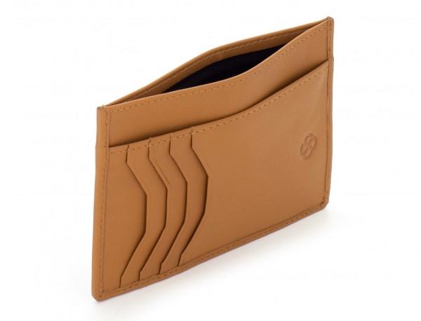 Porta carte di credito in pelle cammello open