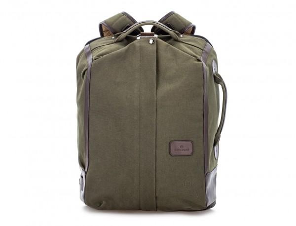 mochila saco de lona en color verde frontal