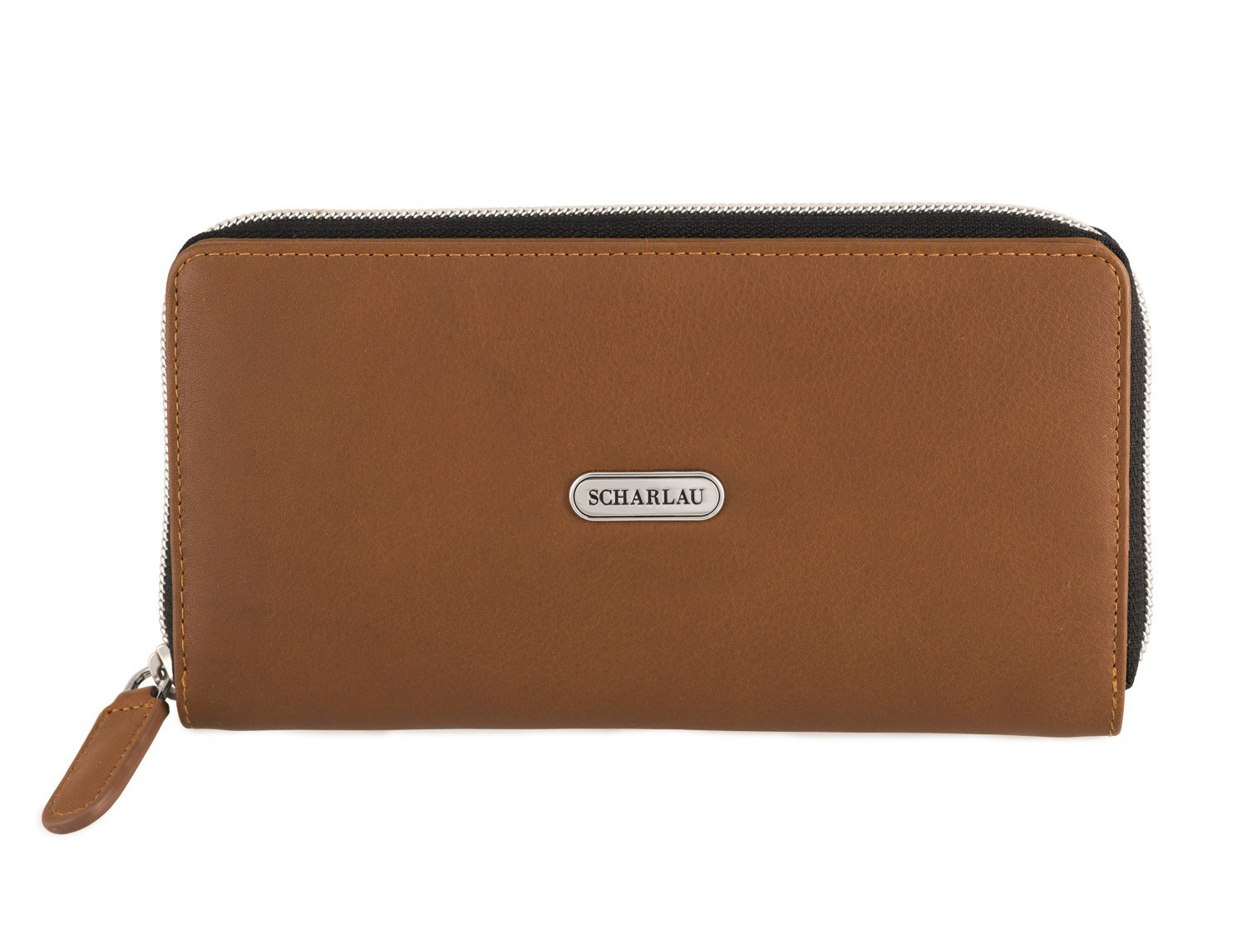 Leather women's wallet with coin pocket in camel front