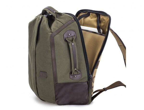 mochila saco de lona en color verde lateral