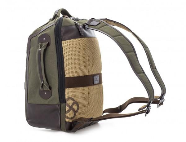 mochila saco de lona en color verde detrás