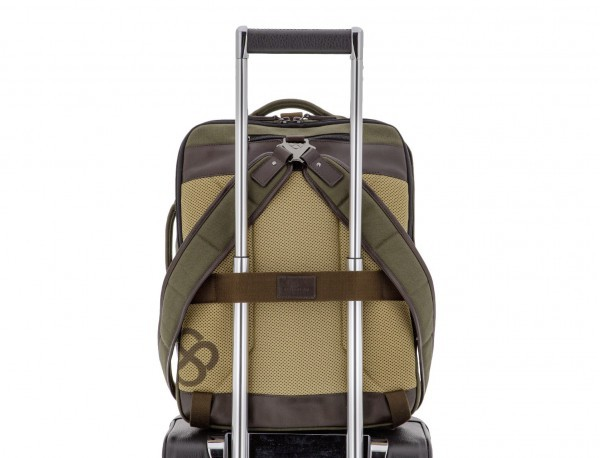 Sack backpack in canvas and leather trolley