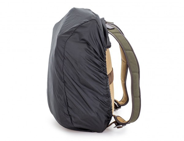 Sack backpack in canvas and leather rain cover