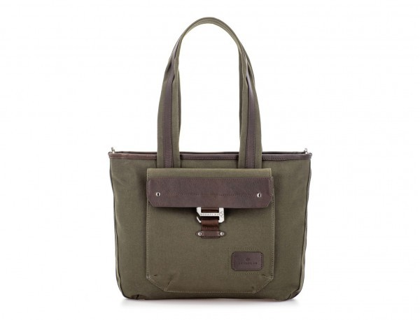Shopping bag for woman in canvas and leather in green front