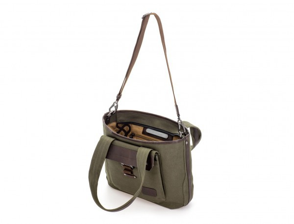 Shopping bag for woman in canvas and leather in green inside
