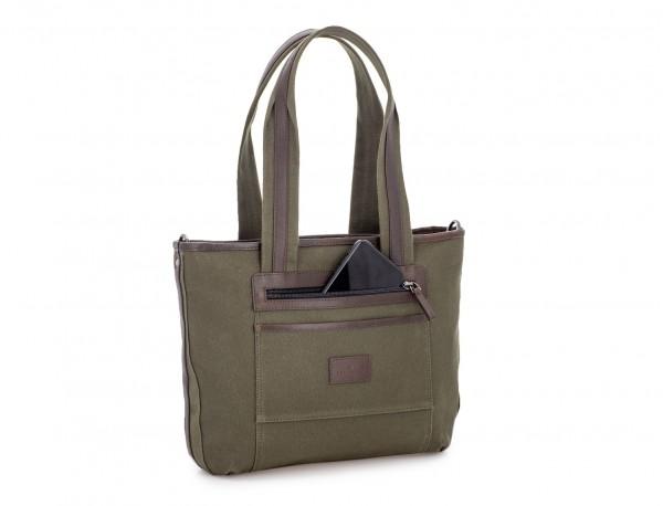 Sacchetto da donna in canvas e pelle in green back pocket