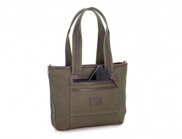 Shopping bag for woman in canvas and leather in green back
