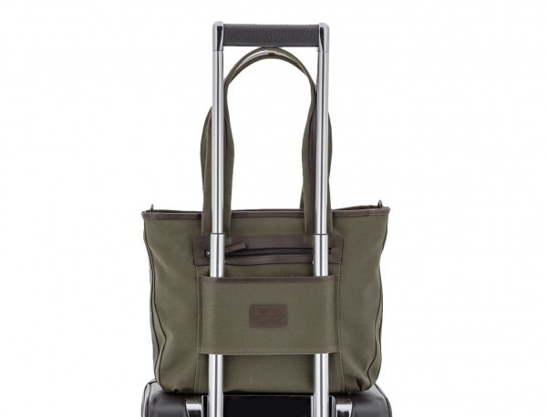Shopping bag for woman in canvas and leather in green trolley