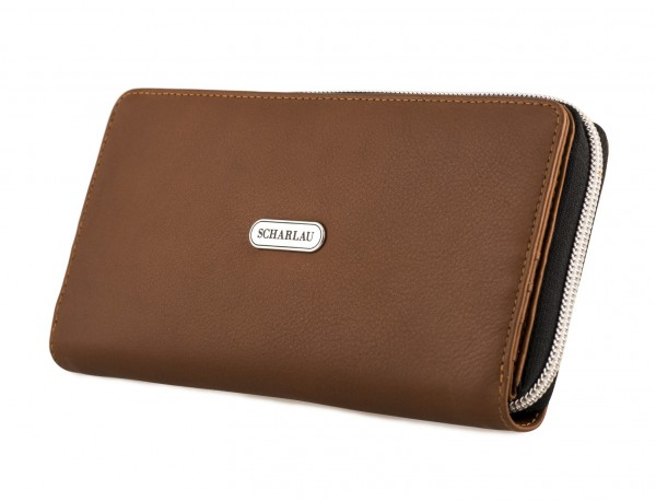 Leather women's wallet with coin pocket in camel side