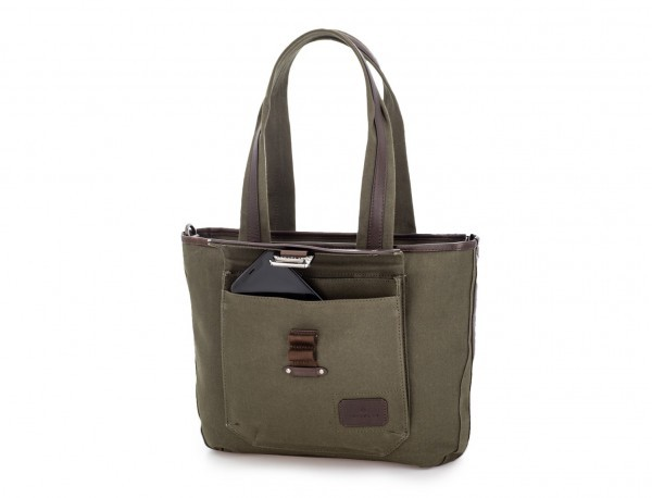 Shopping bag for woman in canvas and leather in green front detail