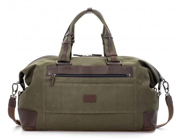 Bolsa de viaje de lona y piel en verde detrás
