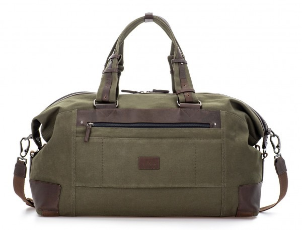 Duffle travel bag in canvas and leather in green back