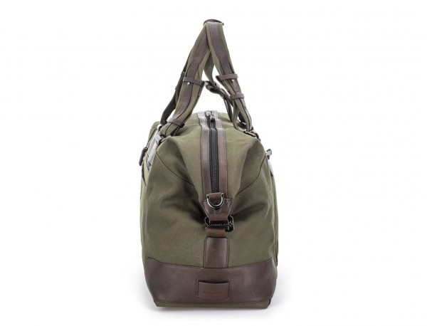 Duffle travel bag in canvas and leather in green side