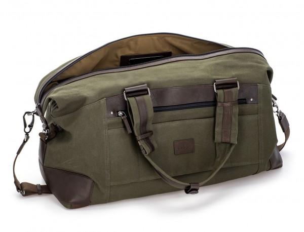 Bolsa de viaje de lona y piel en verde abierto
