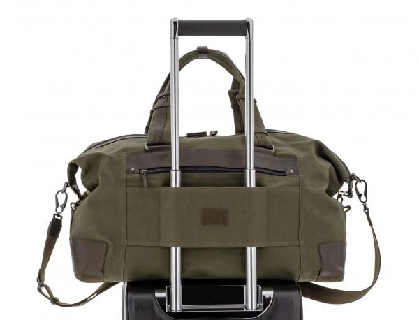 Bolsa de viaje de lona y piel en verde trolley