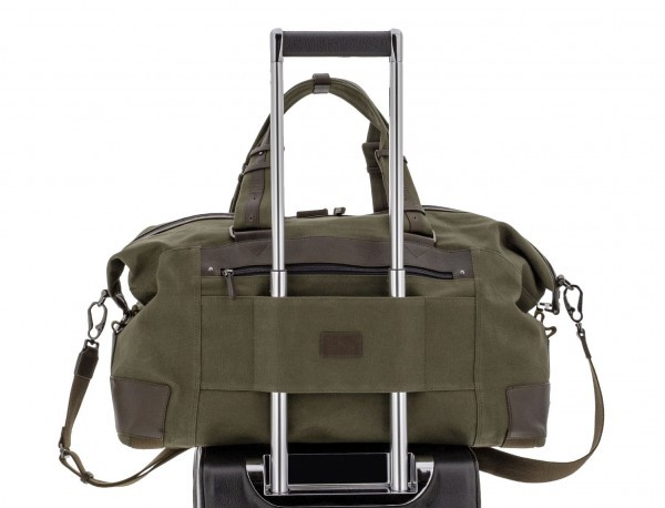Duffle travel bag in canvas and leather in green trolley